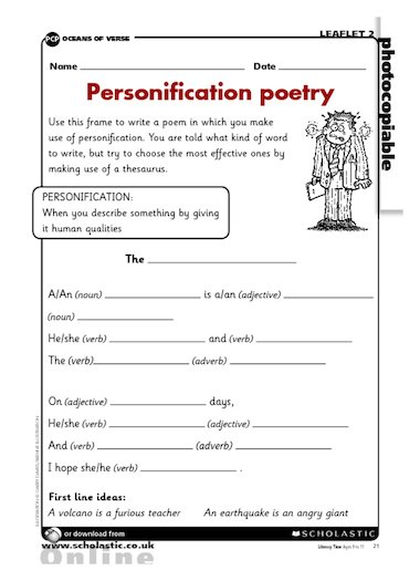 personification poetry writing frame primary ks2 teaching resource scholastic. Black Bedroom Furniture Sets. Home Design Ideas