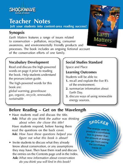 Earth Matters: Teacher's notes and 3 fact files