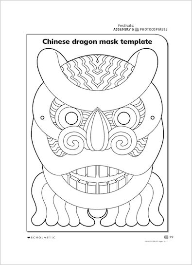 Chinese dragon mask template scholastic shop for Chinese new year lantern template printable