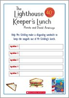The Lighthouse Keeper's Lunch Sandwich Filling Activity Sheet