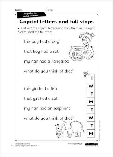 Full Stops And Capital Letters Worksheets Ks3. Using Capital ...