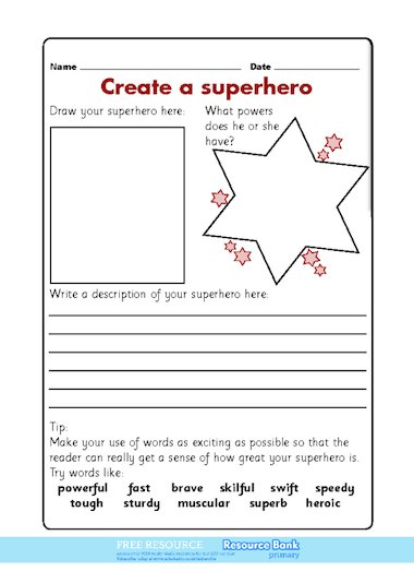 create a superhero free primary ks1 teaching resource scholastic. Black Bedroom Furniture Sets. Home Design Ideas
