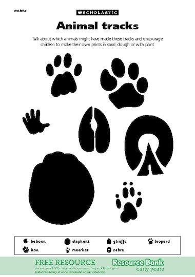 Insane image within animal tracks printable