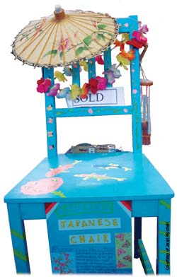Blue decorated chair