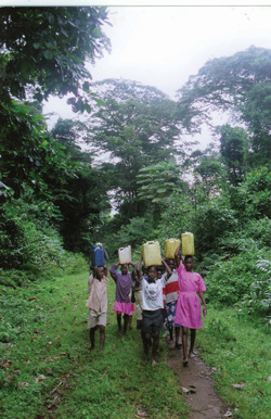 Children carrying water cans back from the well