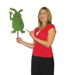 Teacher holding up alien
