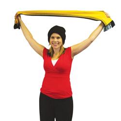 Teacher holding up football scarf