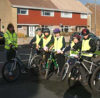 Group of children taking part in cycling proficiency