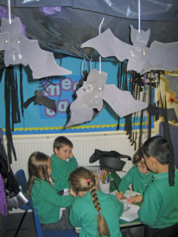 Children playing in the role-play corner