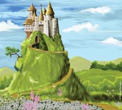 Illustration of a fairytale castle
