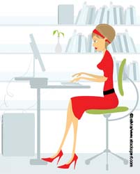Lady graphic working at computer
