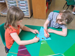 Children making bunting