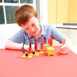 Child investigating circuits