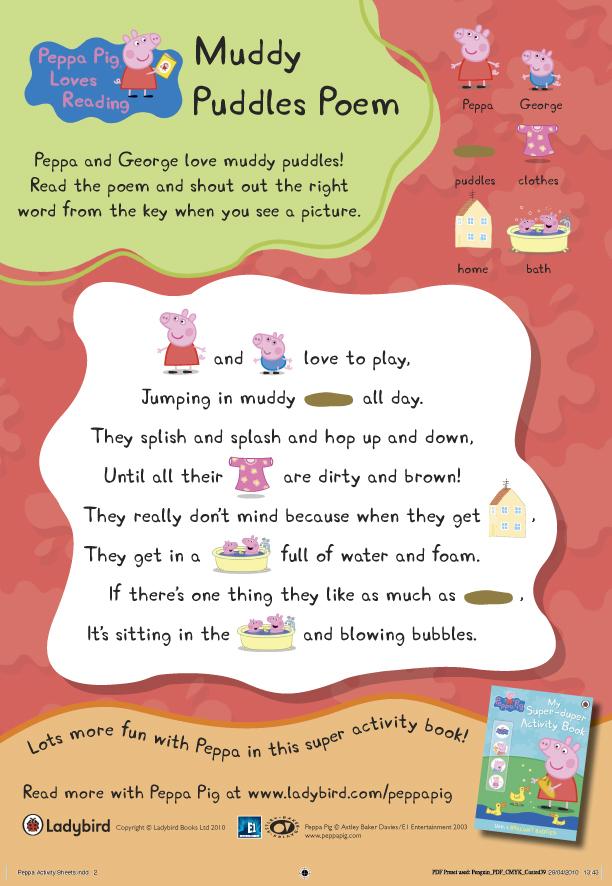 Peppa Pig Muddy Puddles Poem Scholastic Kids Club