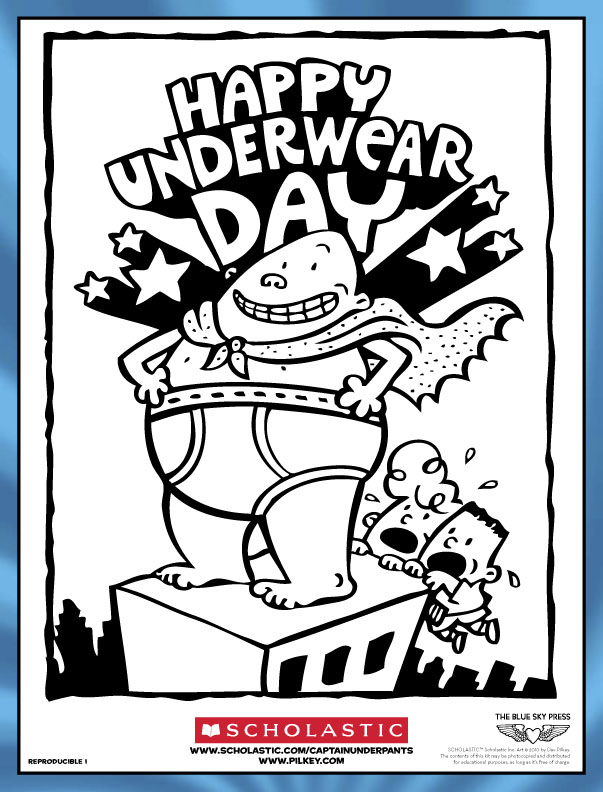 Captain Underpants Colouring Scholastic Kids Club