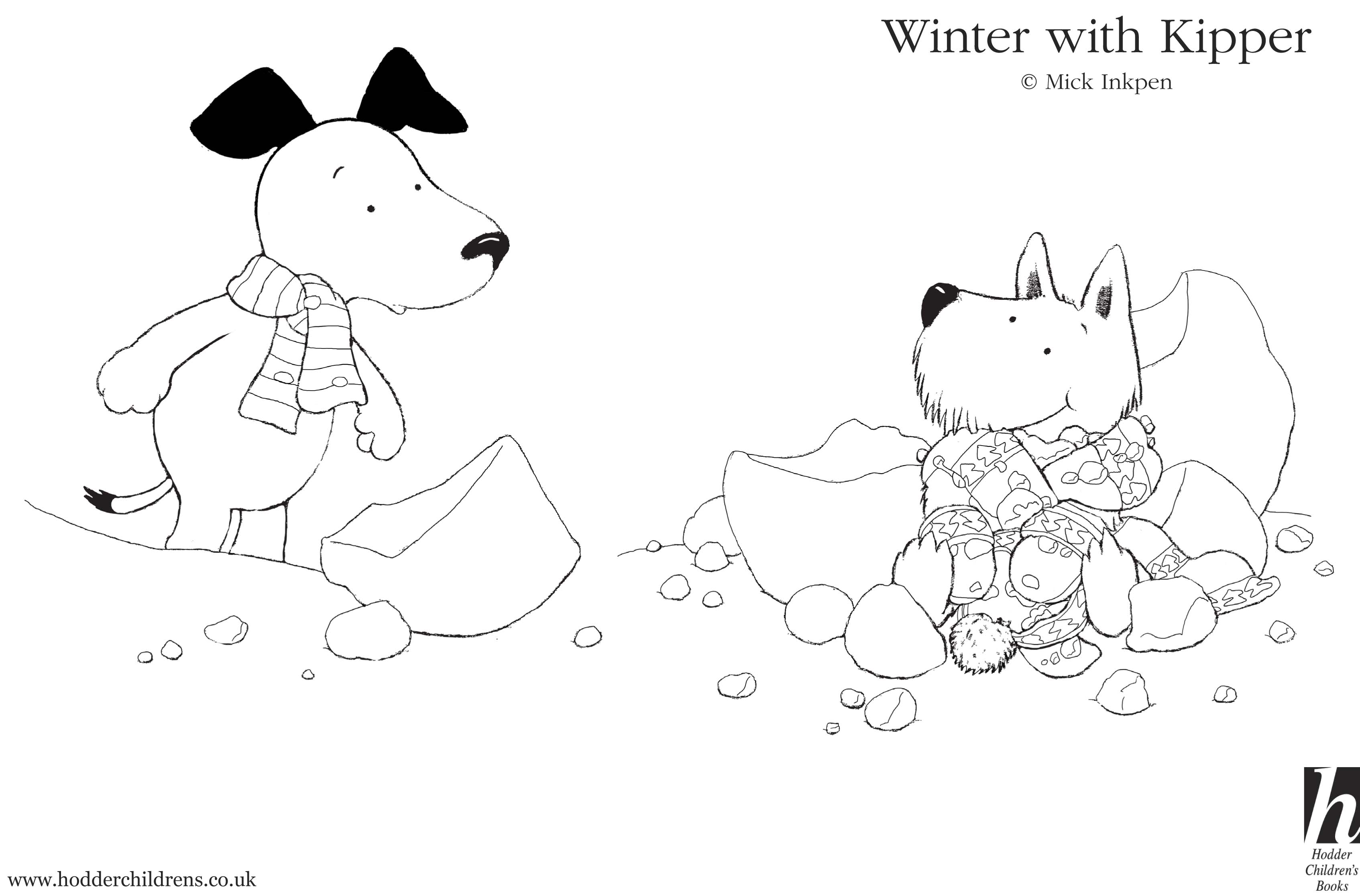 kipper the dog coloring pages - kipper snowy colouring scholastic kids 39 club