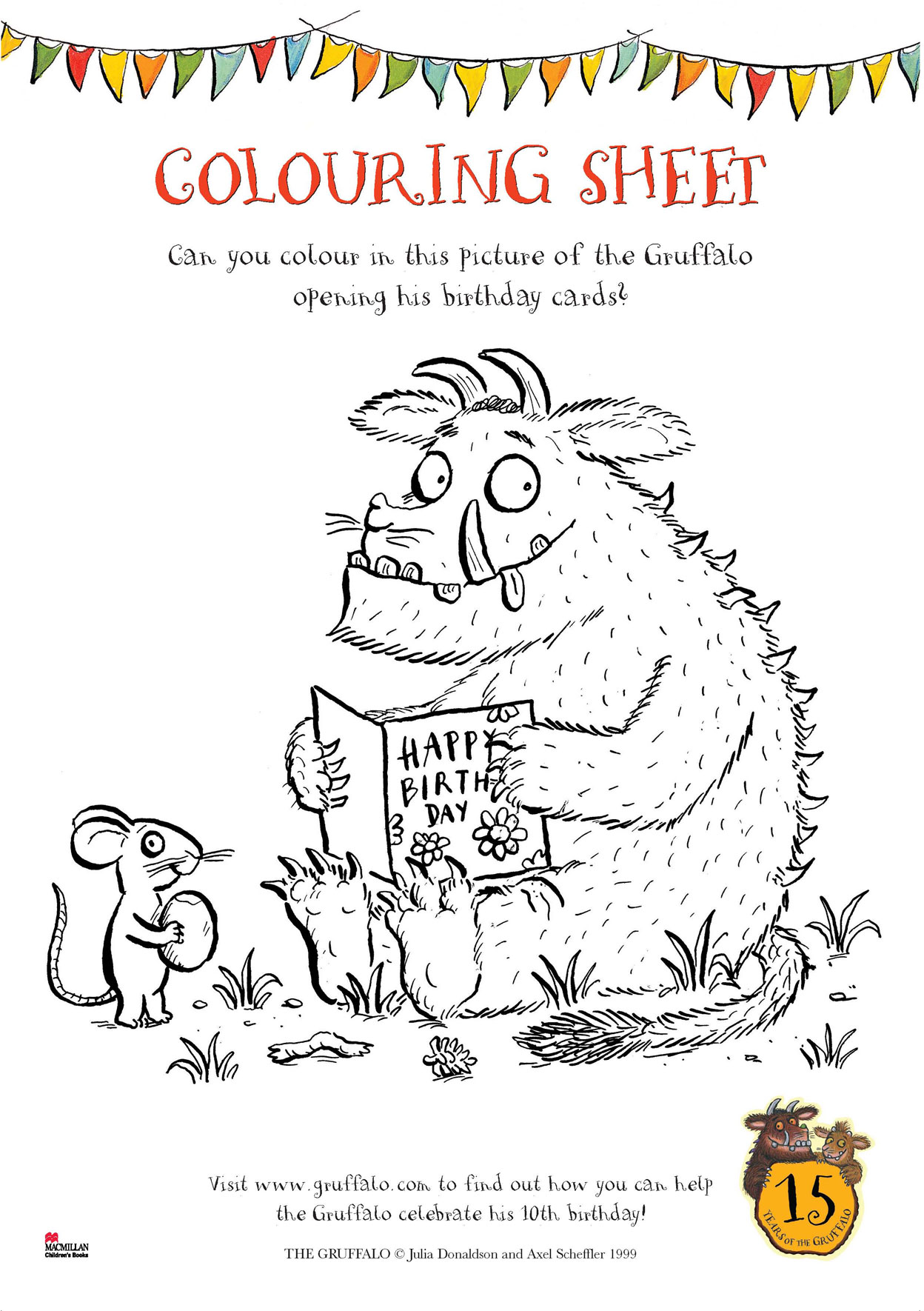 gruffalo birthday colouring sheet scholastic kids u0027 club