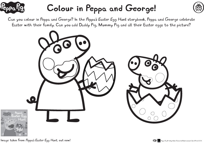 Peppa  George Easter colouring  Scholastic Kids Club