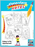 Superhero Hotel Colouring Activity