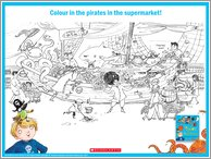 Pirates in the Supermarket Colouring Activity