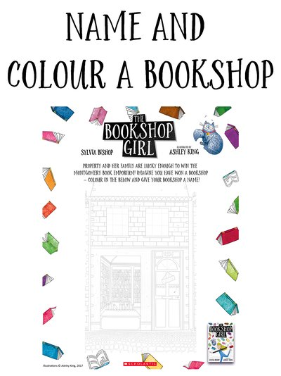 The Bookshop Girl Name and Colour a Bookshop Activity