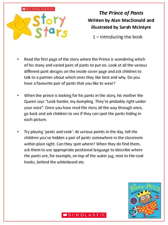 Story Stars Resource: The Prince of Pants Lesson Plan