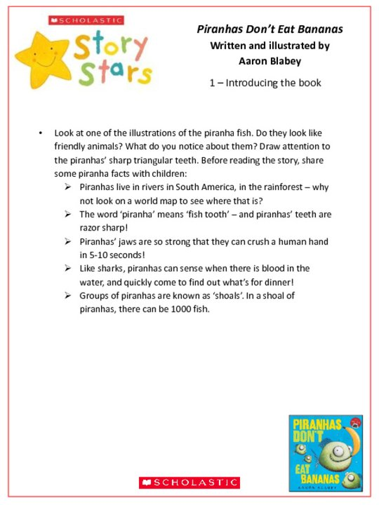 Story Stars Resource: Piranhas Don't Eat Bananas Lesson Plan