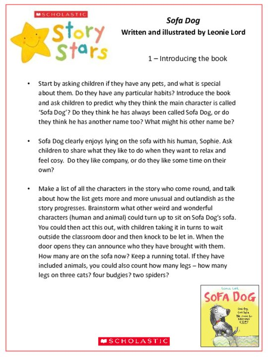 Story Stars Resource: Sofa Dog