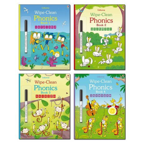 Usborne Wipe-Clean Phonics Pack x 4