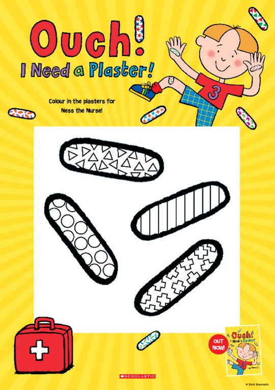 Ouch! I Need a Plaster Colour-in Activity Sheet