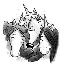 Unicorns Blossom Wood Illustration 2