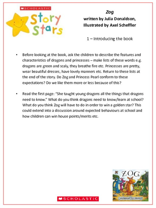 Story Stars Resource: Zog Lesson Plan