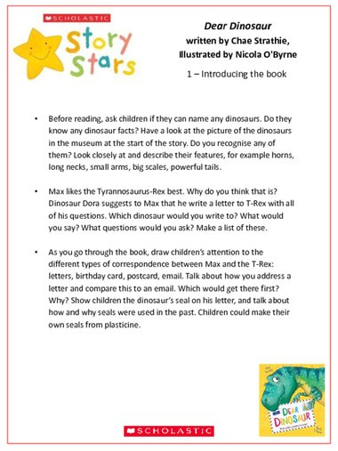 Story Stars Resource: Dear Dinosaur Lesson Plan – FREE teaching