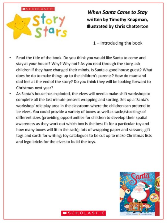Story Stars Resource: When Santa Came to Stay Lesson Plan