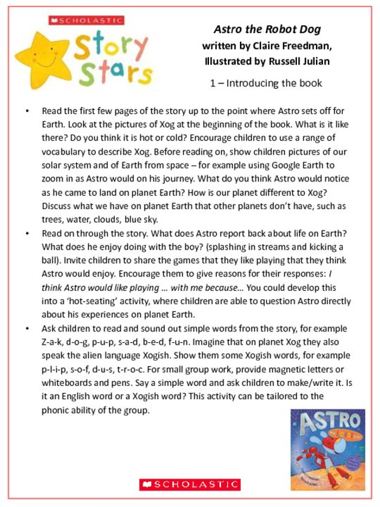 Story Stars Resource: Astro the Robot Dog Lesson Plan