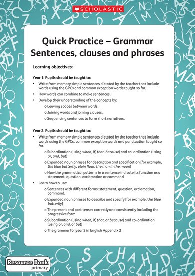 Quick practice - sentences, clauses, phrases