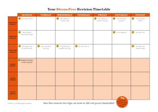 The Teenage Guide to Stress - Revision Timetable