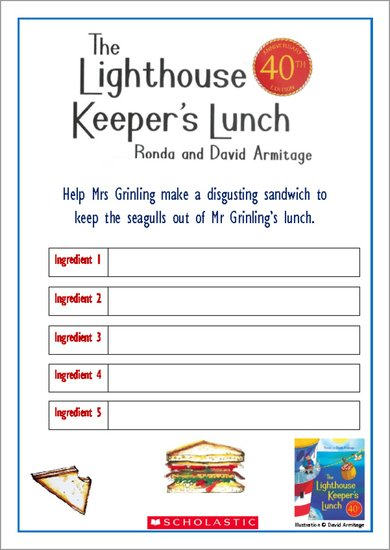 the lighthouse keeper u2019s lunch sandwich filling activity