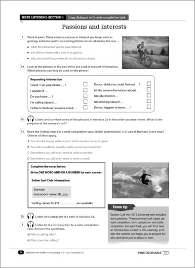 IELTS Listening sample pages