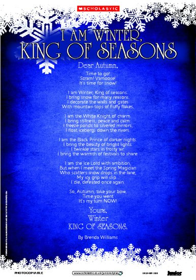King Of Seasons Winter Themed Poem Scholastic Shop Christmas poetry is better when it is personalized with you. this christmas poem is perfect for accompanying. king of seasons winter themed poem