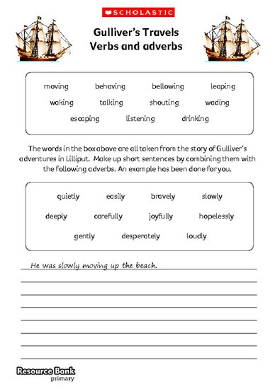 Gulliver's Travels - verbs and adverbs