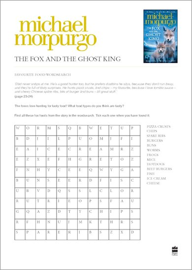 The Fox and the Ghost King Wordsearch