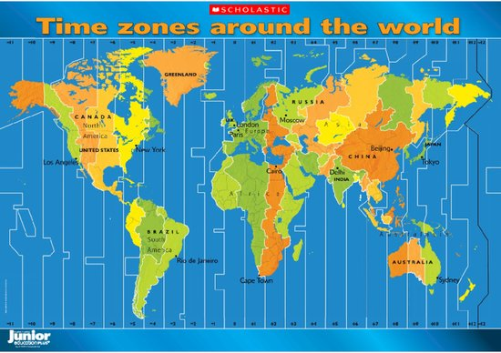 Time Around The World Map Time zones around the world – map poster   Scholastic Shop