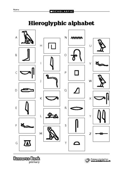 hieroglyphics alphabet coloring pages - photo#3