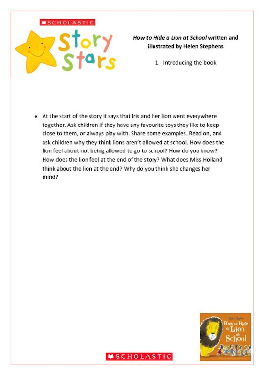 Story Stars Resource: How to Hide a Lion at School Lesson Plan