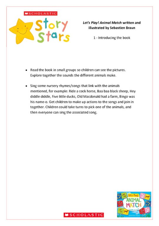 Story Stars Resource: Let's Play! Animal Match Lesson Plan