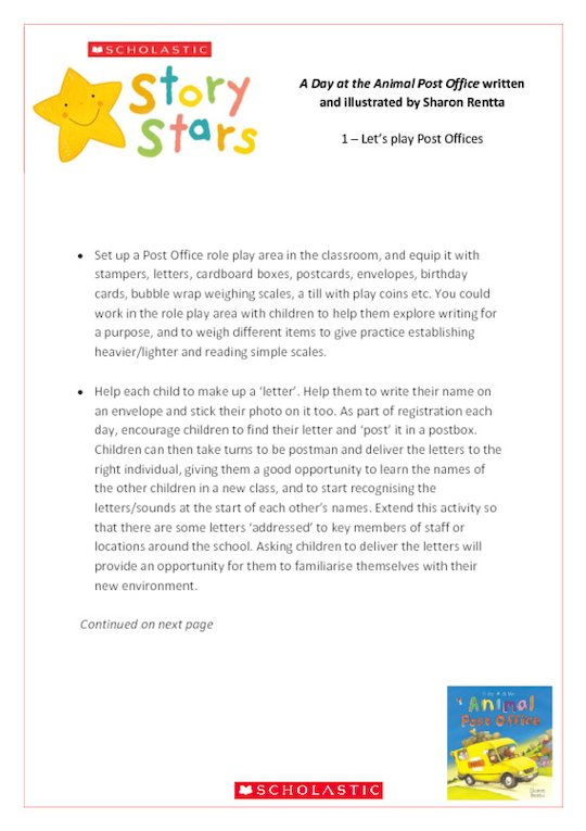 Story Stars Resource: A Day at the Animal Post Office Lesson Plan