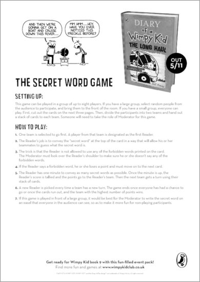 Diary of a Wimpy Kid: The Long Haul - The Secret Word Game