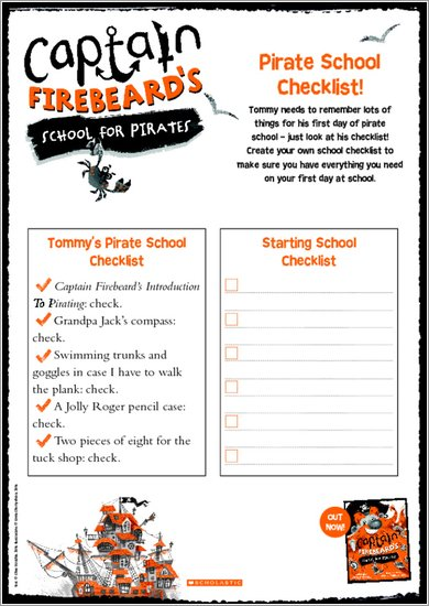 Captain Firebeard's School for Pirates - Checklist