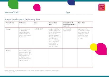 Early Years Digital Observation Framework - blank